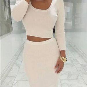 Knit top skirt set